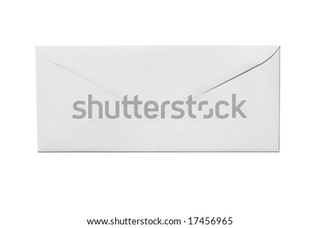Back of an unused white envelope isolated on a white background