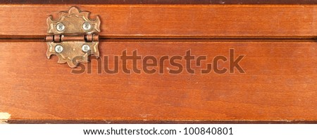 Back of an vintage or retro wooden box showing hinges isolated on white background