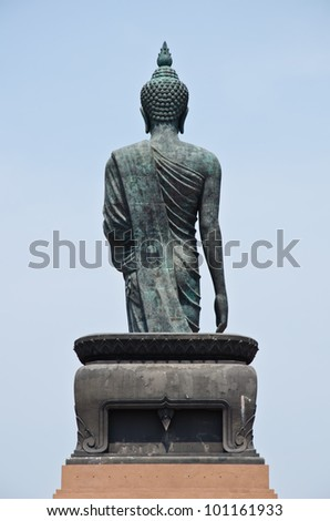 back of big image of buddha in thailand