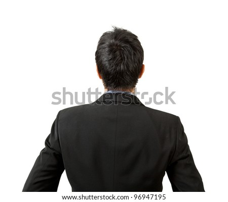 back of businessman looking