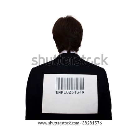 Back of businessman with barcode, isolated on white. Humor concept