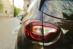 back of car headlight car