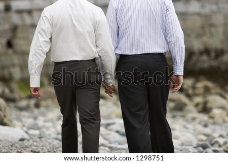 back of gay lovers walking holding hands