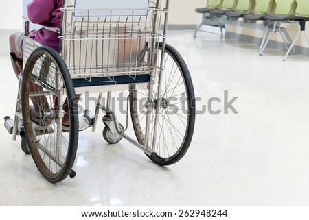 Back of lonely old man on wheel chair sad & alone feeling in heath concept = please take care your old parent