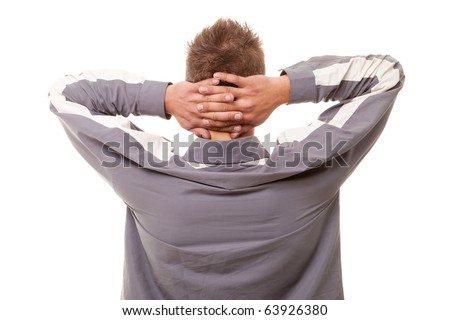 back of man holding hands on head on white background