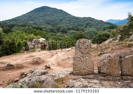 Back of Menhir statues in Filitosa, megalithic site in southern Corsica, France - Shutterstock ID 1179193183