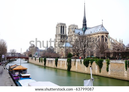 Back of Notre dame and seine river, paris