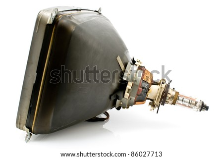 Back of old television cathode tube isolated on white