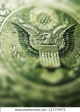 Back of one dollar bill. Tilt-shift lens use.