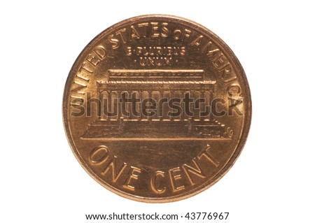 Back of penny isolated on white with clipping path