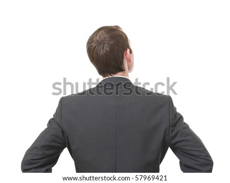 back of pensive businessman looking up isolated on white background