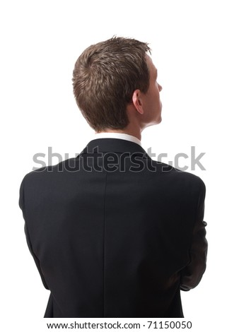 back of pensive young businessman looking up isolated on white background