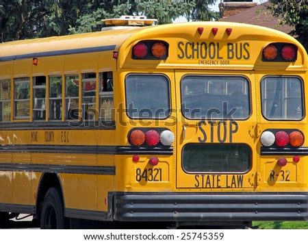 back of public state county school bus