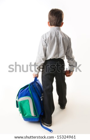 Back of schoolboy holding backpack and apple while going to school