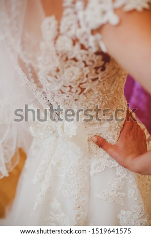Back of the bride in a wedding dress. View of the back, beautiful openwork patterns, waist, long zip with buttons.Closeup back of young woman trying on lace corset wedding dress #1519641575