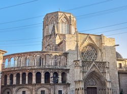 back of the Metropolitan Cathedral- Church of the Assumption of Our Lady of Valencia, Gothic and Roman style. In Valencia, Spain