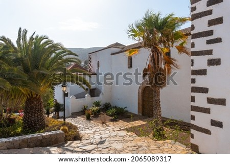 Back of the white church of Betancuria, west coast of the island of Fuerteventura, Canary Islands. Spain