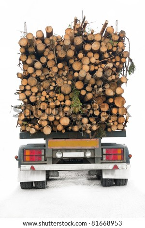 Back of truck loaded with timber, isolated on white