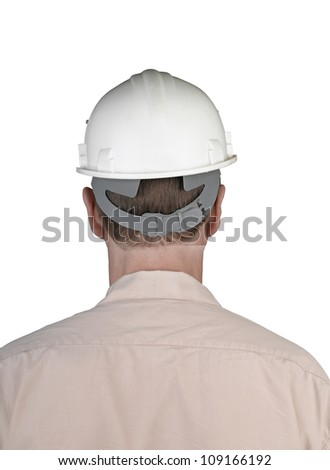 Back of worker man with white constructor helmet isolated