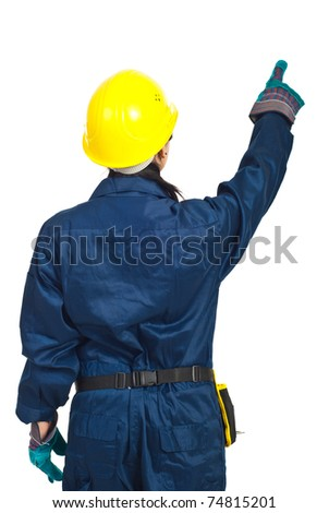 Back of worker woman pointing up  isolated on white background - stock photo