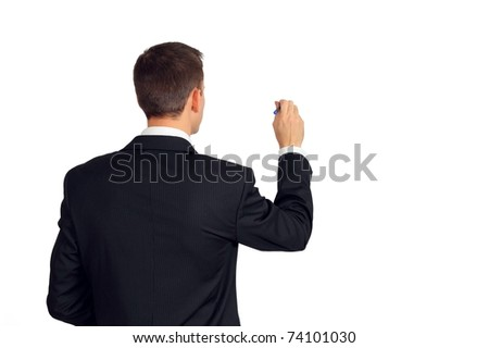 Back of young man in a suit writing or drawing something