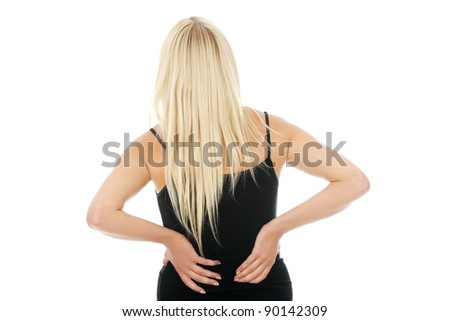 Back pain concept. Isolated on white background
