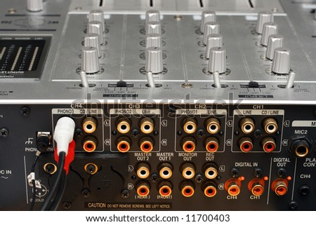back panel with sockets of dj music mixer