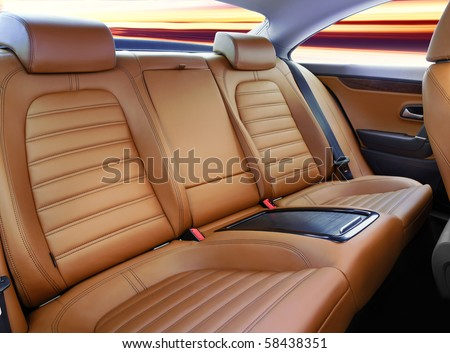 back passenger seats in modern luxury comfortable car #58438351
