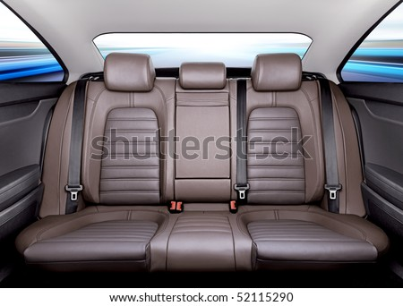 Back passenger seats in modern sport car, frontal view