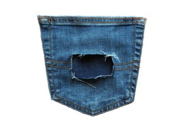 back pocket of an old blue jeans there is square torn hole on a white background isolated,torn denim