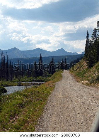 Back road to the Rocky Mountains east of Jasper National Park, in the Cardinal River Valley, Alberta, Canada