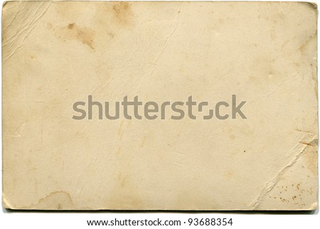 back side of antique photo isolated on white