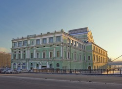 Back side of famous Mariinsky Theatre building seen from Dekabristov Street in Saint Petersburg, Russia