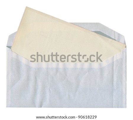 Back side of obsolete textured envelope with blank card isolated