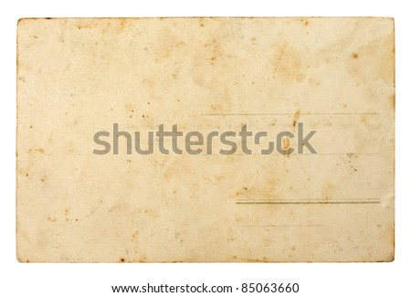 Back side of old postal card - stock photo