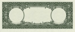 back side of one dollar bill with remote parts for imprinting  isolated clipping path