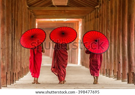 Back side of three Buddhist novice are walking in pagoda,myanmar #398477695