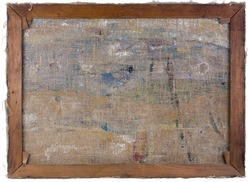 Back side view background of real old wooden frame with oil painted canvas. Isolated