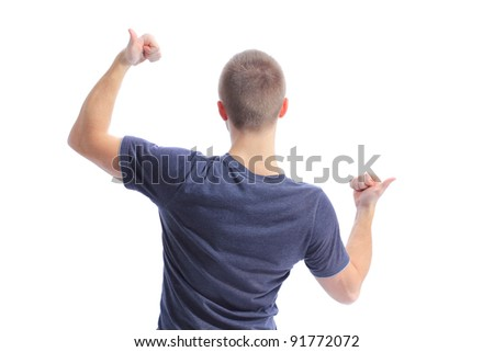 Back side view of a man making ok sing against a white background