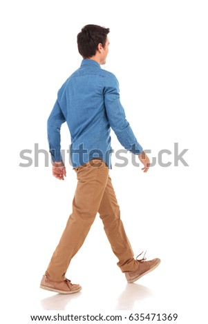 back side view of a walking young casual man on white background #635471369