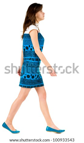 back side view of going brunette girl in blue dress. beautiful woman in motion.  backside view of person. Isolated over white background. Rear view people collection.