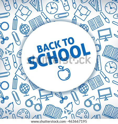 Back to school. A white background. Icon school supplies.