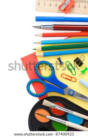 back to school and supplies isolated on white background