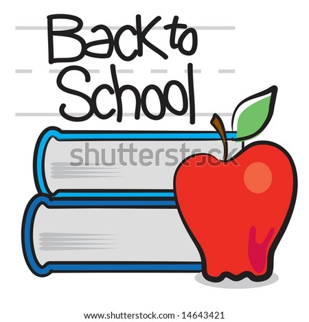 Back to school apple and school books in JPEG/TIFF format (Image ID ...