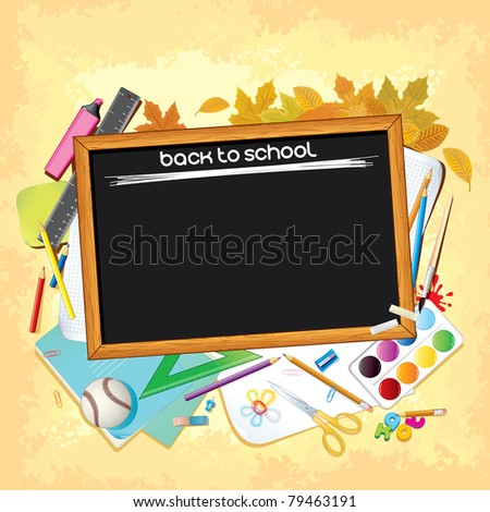 Back to School, Background with Empty Black Desk and Supplies