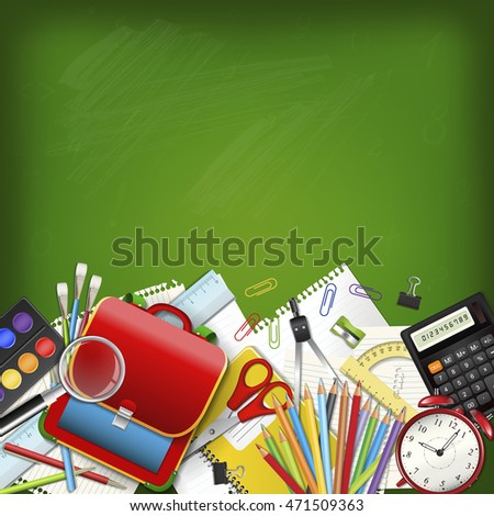 Back to school background with supplies tools on green classroom chalkboard. Place for your text. Layered realistic raster illustration. #471509363
