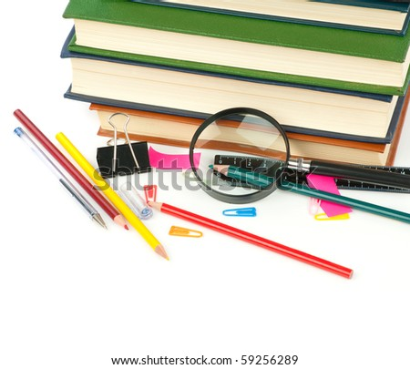 Back to school.Book heap and color pencils isolated on white background. Concept