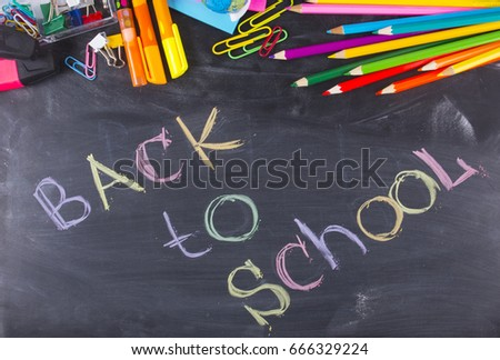 Back to School chalkboard and school supplies Stock fotó ©