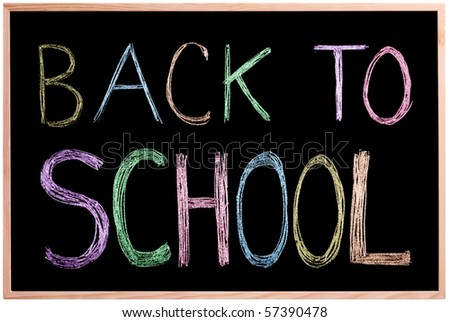Back to School! Chalkboard / blackboard with back to school written in colors with chalk on the board. Image is Isolated.