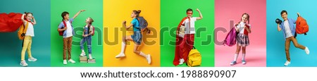 Back to school! collage 7 school children on colorful paper wall background. Children with backpacks and books. children are happy and ready to learn. Dynamic images. positive fun and active jumps.